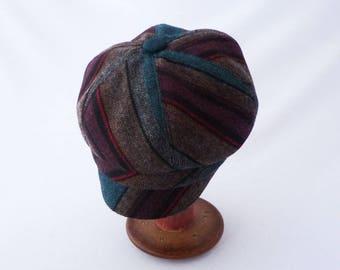 Newsboy Hat, Womens Hat, Herringbone Wool, Stripes, Teal, Burgundy, Chestnut Brown, Faux Suede, Cute Hat, Cloche Brim, Gift for Her, Chapeau