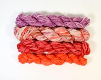 dragon fire  ... handspun yarn set, weaving creative yarn bundle, hand spun, hand dyed yarn, handspun art yarn