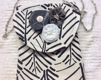 Black and white crossbody purse, mini bag, sling bag, totes and bags