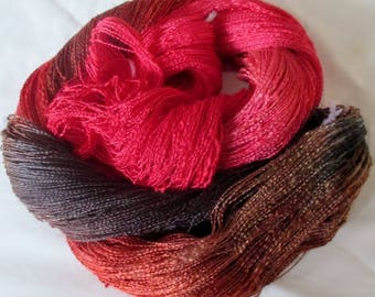 Handpainted Soft Rayon Slub Yarn - 700 yards - SIENNA