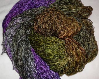 Handpainted Soft Rayon Chenille Yarn  NOVEMBER DAY  -  360 yds