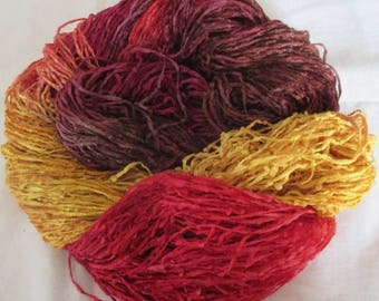 Handpainted Soft Rayon Chenille Yarn  THE FLAME  -  400 yds