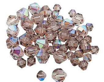 Smoky Quartz Aurora Borealis Cut Crystal Bicone Beads, 4mm to 6mm, pack of 48