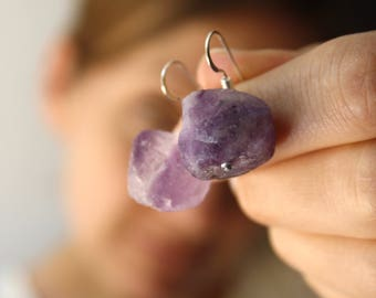 Raw Stone Earrings . Balancing Jewelry . Purple Fluorite Earrings . Purple Rock Earrings . Rough Gemstone Earrings - Chakra Collection