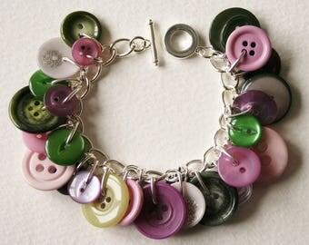 Button Charm Bracelet Moss Green Dusky Purple Lavender