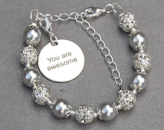 You are Awesome, Inspirational Jewelry, Motivation Bracelet, Positive Inspiration, Bestie Gift, Daughter Mom Gift, Mantra Bracelet