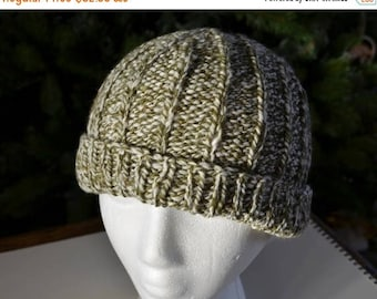 First Fall Sale - 15% Off Hallgrímur 2 in Olive, Sage, White, and Cream Marled Yarn - Hand Knit Hat in Handspun Merino, Silk, Bamboo - Tradi