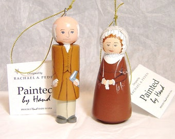 JOHN Adams and/or ABIGAIL Adams Ornaments, hand painted on wood in USA
