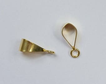 SHOP SALE Simple and Shiny Bail 24k Gold Vermeil over Sterling Silver Smooth Necklace Slide Bail 16mm, Jewelry Findings, Beading Supply (1 p