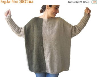 20% WINTER SALE 30 Percent SALE - Beige - Army Green Sweater Plus Size Over Size