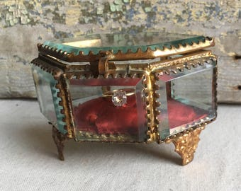 Antique French Ormolu Jewelry Casket Box, Gilded Brass and Beveled Glass, Vitrine, c.1800s