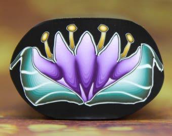 MEDIUM Polymer Clay Purple Flower Cane -'Awaken' (28bb)
