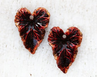 Hand stained and sealed leafy hearts by joycelo