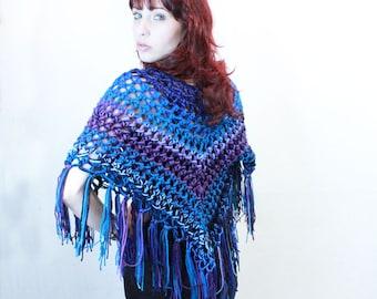 Poncho crochet boho gypsy shawl wrap turquoise blue purple