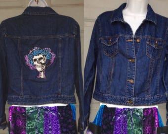 Grateful Dead Demin Jacket, Skull Jacket,Ready to ship, women's skeleton coat, Grateful Dead jacket,Canvas cotton Medium jacket