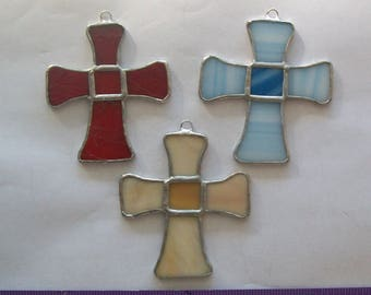 Cross ornament set 3 Christmas stained glass crosses