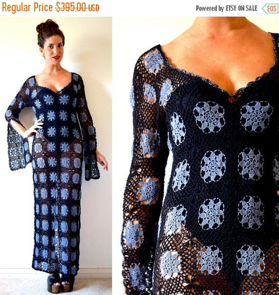 SUMMER SALE / 20% off Vintage 70s Laurel Canyon Black and Purple Crocheted Maxi Dress
