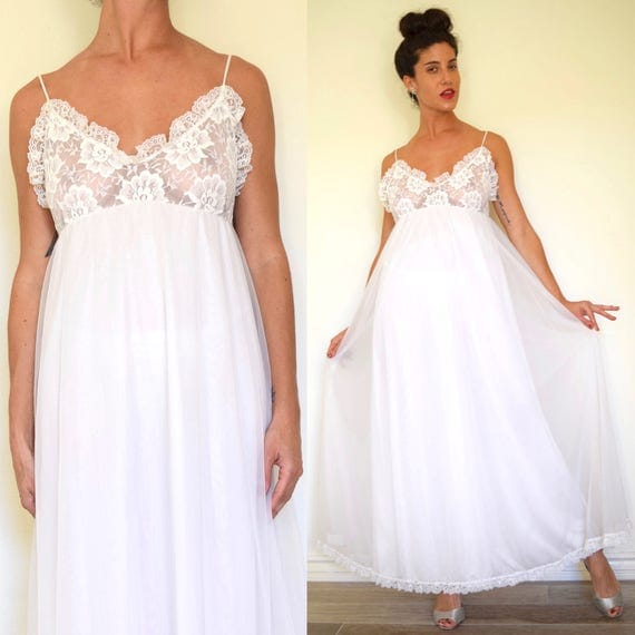 Vintage 60s 70s Dream Angel White Lace Tent Double Layered Chiffon Nightgown with Lace Bodice (size small, medium)