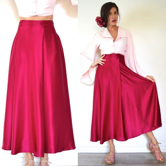 Vintage 80s 90s Fuchsia Silk High Waisted A Line Skirt (size medium)