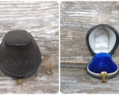 Vintage Antique 1890/1900 French leather silk & velvet engagement ring box /ring box /jewelry box/ trinket