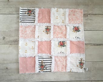 Floral Nautical Minky Lovey