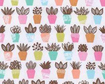FAT QUARTER - Erin McMorris Fabric, Intermix, Terra, Petal, Potted Plants, cotton quilting fabric