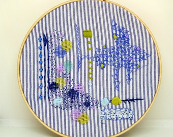 Embroidery hoop art. contemporary embroidery. Wall Art - Hand Made - Cryptic