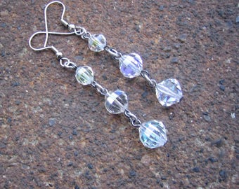 Eco-Friendly Dangle Earrings for Pierced Ears - Crystal Clear - Trios of Recycled Vintage Clear Glass Aurora Borealis Crystals