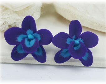 Purple Blue Orchid Stud Earrings or Clip On Earrings - Purple Blue Orchid Jewelry