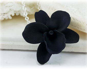 Black Orchid Necklace - Black Orchid Pendant Necklace, Black Orchid Jewelry