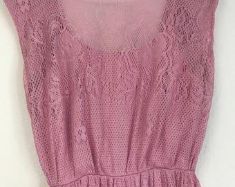 Vintage Blush pink lace dress, xxs, free shipping