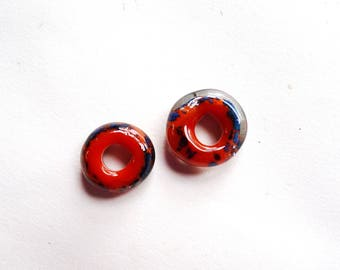 Lampwork Spacer Beads with Large Hole - Orange and Blue Speckled Pair