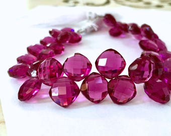 Gorgeous magenta colored hydro quartz faceted cushion