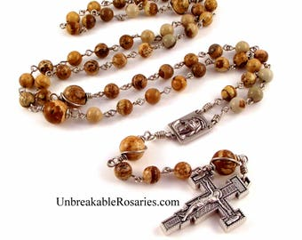 Holy Face of Jesus Rosary Beads Brown Picture Jasper w Franciscan Renaissance Crucifix by Unbreakable Rosaries