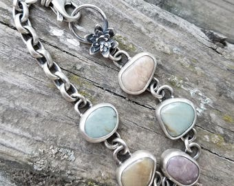 Beach Stone and Sterling Silver Bracelet