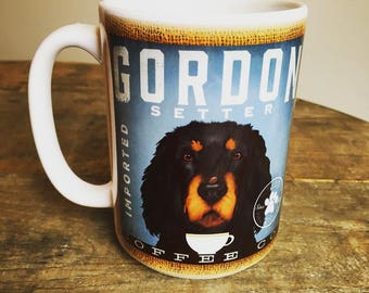 Gordon Setter dog Coffee company graphic art MUG 15 oz ceramic coffee mug
