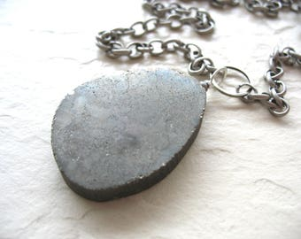 Pyrite Necklace, Fools Gold Pyrite, Handmade artisan Jewelry, Pendant Chain Necklace, Gemstone Necklace, Pyrite Jewelry