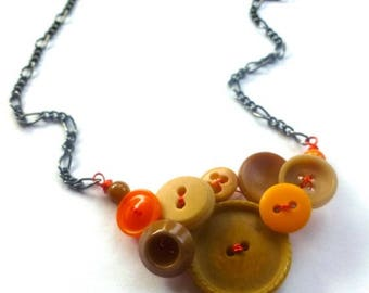 Christmas in July Sale Nude and Neon Orange Vintage Button Necklace