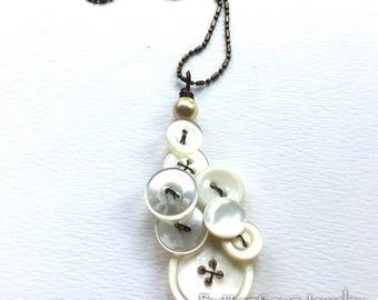 Pearl White Vintage Button Pendant Necklace