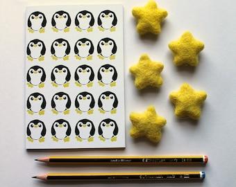 A6 Penguin Notebook, Plain Notebook, Lined notebook, Pocket Notebook