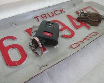 "Repurposed License Plate Coin and Key Tray - Rustic Ohio ""Truck"" Plate - FREE SHIPPING - Serving Tray - Gift"