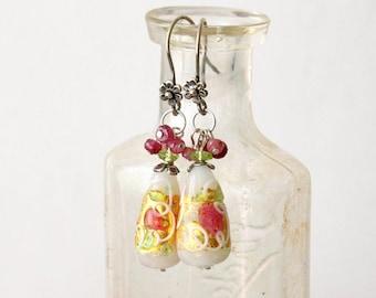 Floral Murano Glass Dangle Earrings. Murano Glass Drops with Gemstone Beads Earrings, Spring Flower Murano Glass Earrings