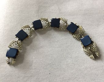 Vintage Bracelet, Signed Coro, Thermoset Moonglow Links, Navy Blue, Silver Metal, Mid Century. 1960s