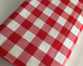 Buffalo Check fabric, Red Plaid fabric, Buffalo Check Party Decor, Quilting Sewing, 1 inch Buffalo Plaid in Red, You Choose the Cut