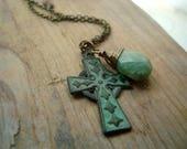 RESERVED Celtic Cross Necklace With Chrysoprase Patina Brass Jewelry Gemstone Spiritual Irish Religious Mothers Day St. Patricks