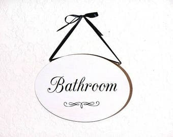 Bathroom Hanging Sign, Home Decor Wooden, Office Oval Wall Plaque, Modern Country Cottage, Powder Room Decor, Handmade Bath Door Phrase