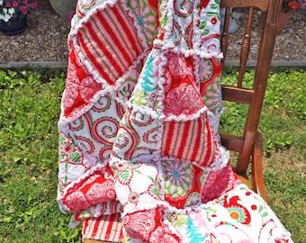 Christmas Rag Quilt - Red, Pink, Green, Blue - Kaleidoscopes, Trees, Swirls, Birds - Handmade Christmas Rag Quilt