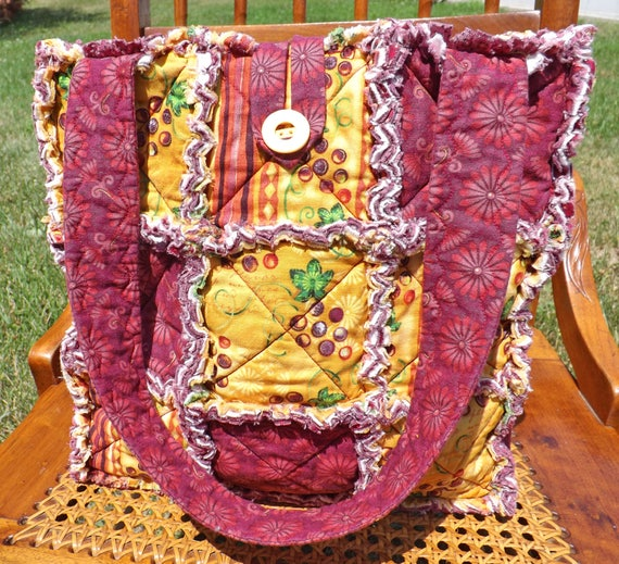 Autumn Rag Quilt Tote - Grapes and Flowers - Winery - Autumn Tote - Fall Colors Tote - Autumn Colors Tote - Gift For Her - Rag Quilt Handbag