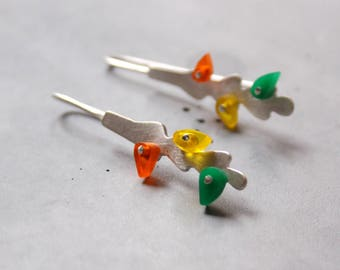 Long Sterling Silver Earrings with Fall Leaves made of Plexi Glass, Modern Silver Jewelry, Contemporary art
