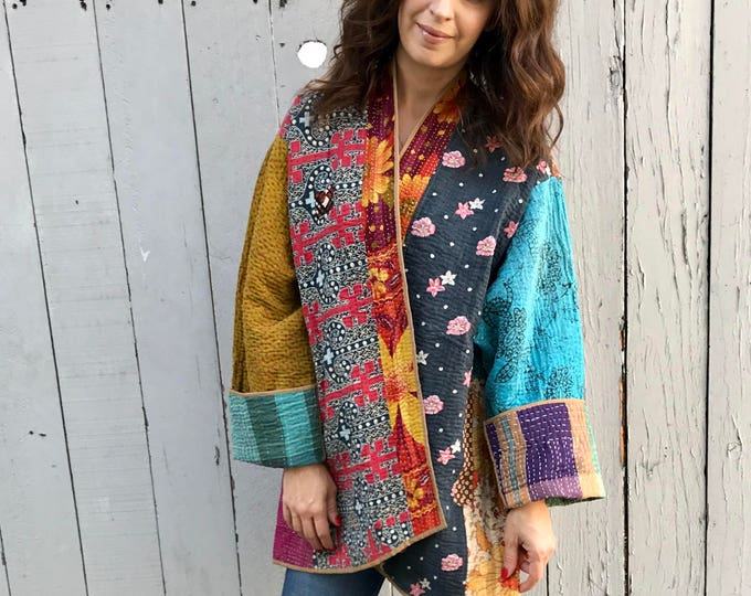 Reversible plus size kantha quilt coat